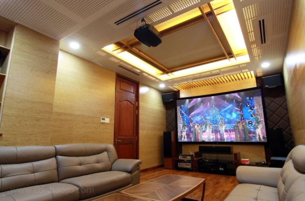 Phòng chiếu phim tại gia kết hợp nội thất và xử lý âm học hiệu quả